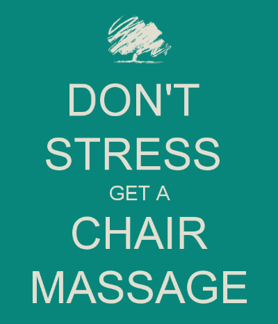 What is a Chair Massage? - Chair massage is a style of seated massage that is typically short—10 or 15 minutes—and focuses on your back, shoulders, neck and arms.Chair massage is done over clothes and doesn't require any massage oil.Sara will put you in a special chair with your face resting in a cradle, looking down towards the floor, with supports for your arms. Your back and neck will be completely relaxed while Sara will relieve muscle tension using moves like kneading and compression.It's a great way to work out muscle tension! Book your small event today!