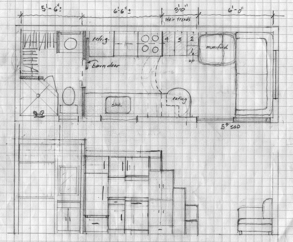 Tiny house floor plan & sectional view