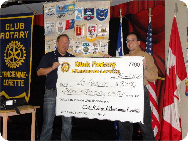 Grâce au télé-bingo Rotary, le club Rotary de L'Ancienne-Lorette redistribue annuellement entre 40 000 $ et 45 000 $.