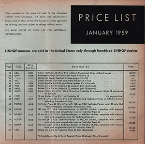 Linhof 1959 Price List Kling USA English Language January