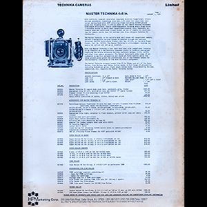 Linhof 1984 Price List USA English Language