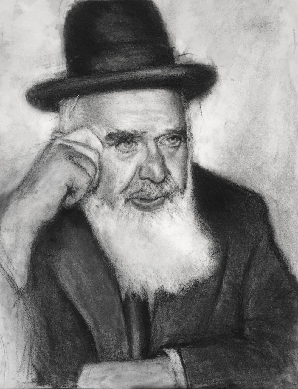Rav Chaim.  Charcoal