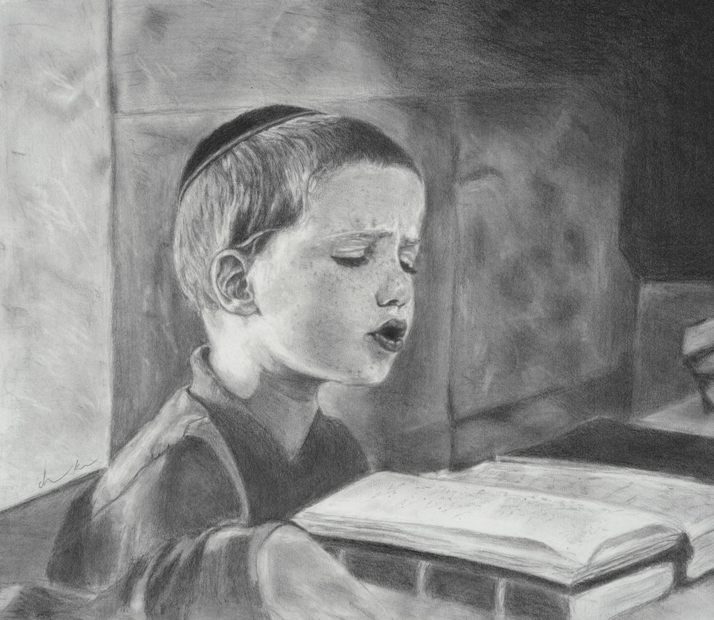 Torah Study- Graphite Pencil