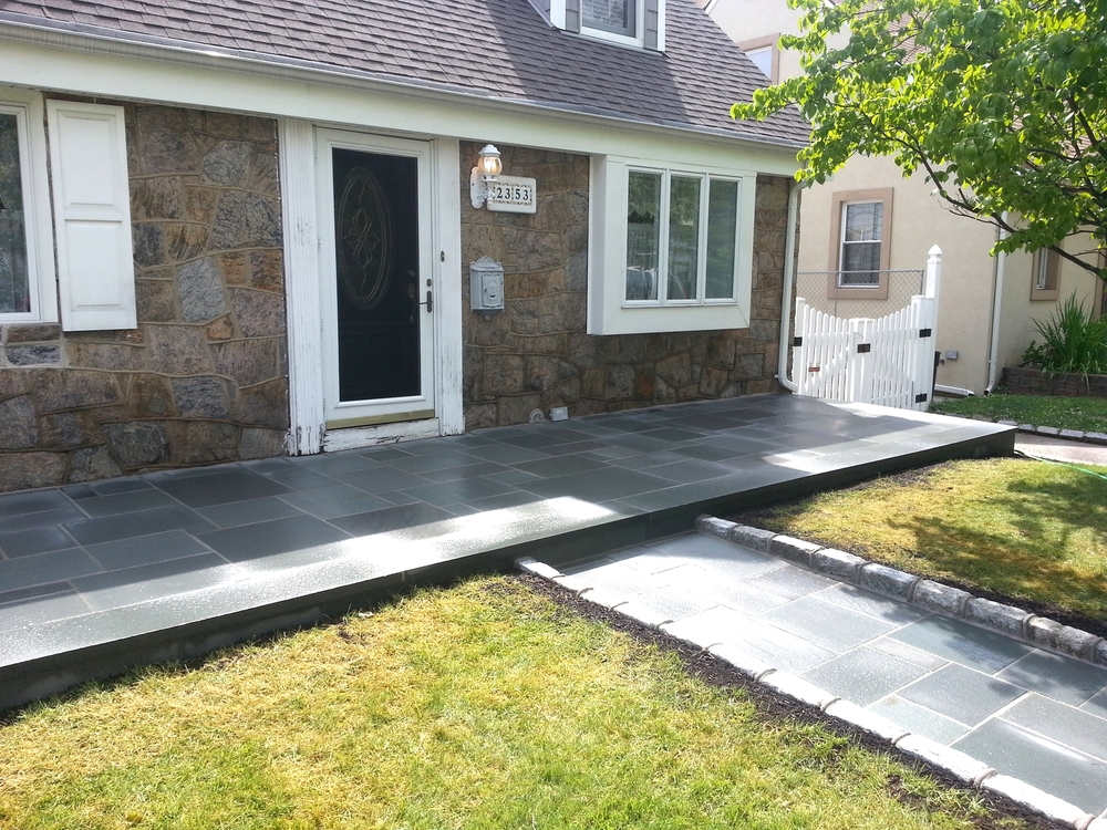 Cut Blue stone patio and walkway.