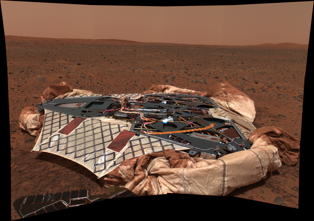 A panorama looking back at the lander that carried the Spirit rover to the Martian surface.