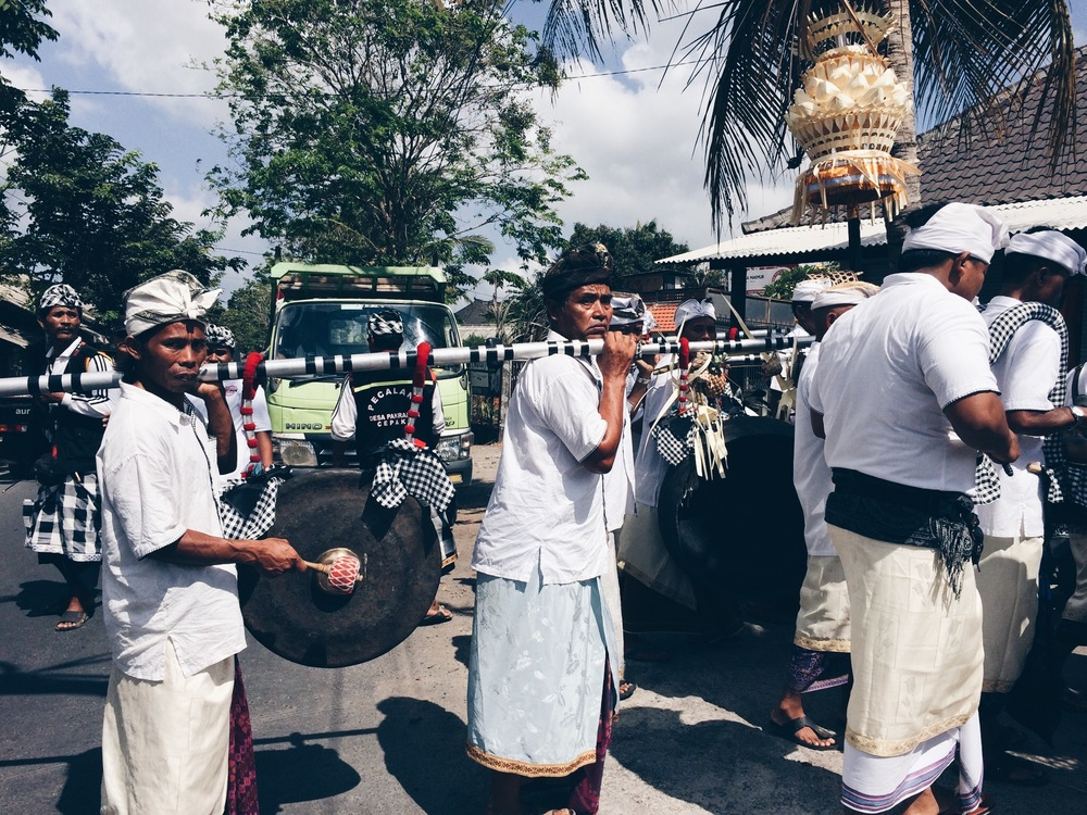There were ceremonies all the time in Bali. This one they were walking all the way to the ocean.