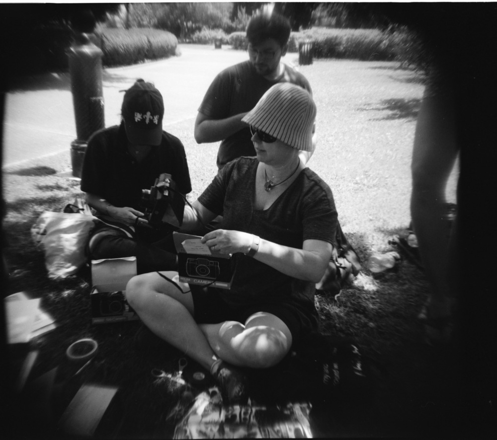 Jill Stoll leading a Holga lesson with graduate students in the French Quarter, summer 2014. Photo by Stuart Hurt.