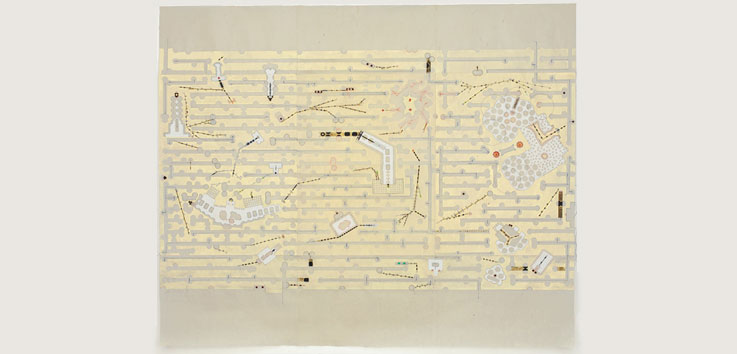 Golden Maze, South, 2009 tape, stickers, thread, paint on kozo paper 45 x 54 inches