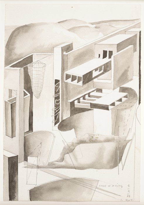 Steven Holl, Building concept, from the Edge of a City project, 1988; watercolor on paper, 10 1/4 in. x 7 1/16 in. (26 cm x 18 cm); Collection SFMOMA, Accessions Committee Fund purchase; © Steven Holl Source: http://www.sfmoma.org/explore/collection/artwork/37802#ixzz3mgjMyITX  San Francisco Museum of Modern Art