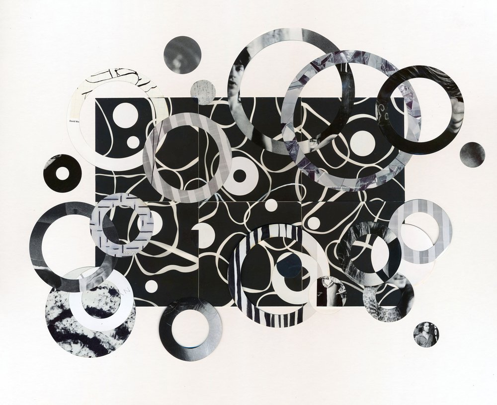 """Mick - Six photogram squares connect to create the first layer of this collage. Can you see a young Mick Jagger staring back at you? Mounted on white mat board in a white 20"""" x 16"""