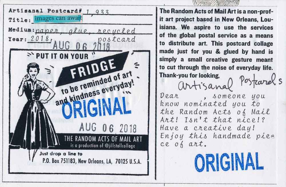 This is for a recipient who was nominated for a Random Act of Mail Art.