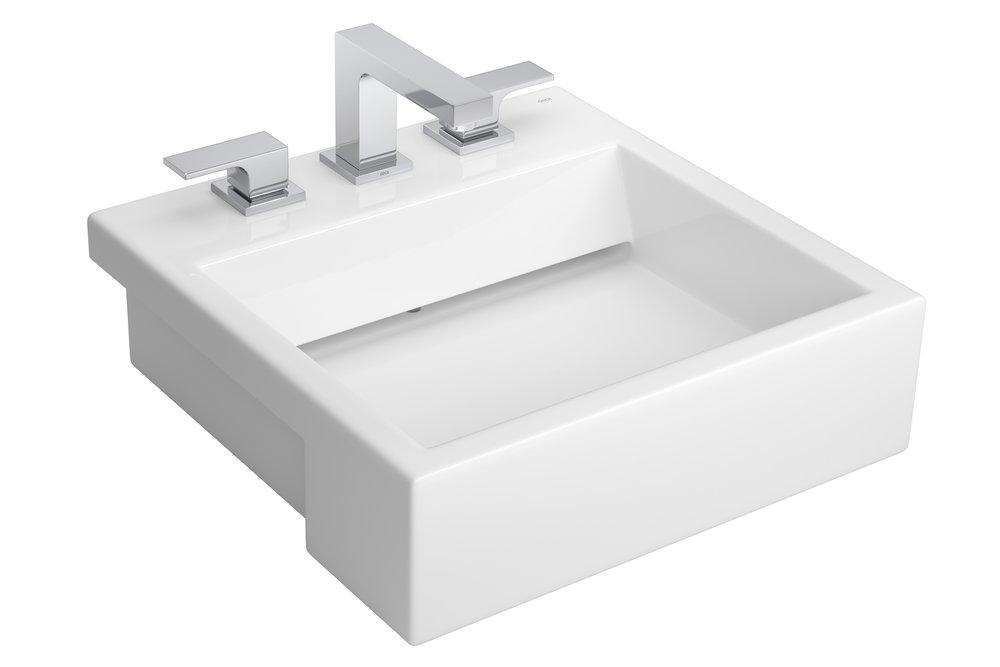 CUBA SEMI-ENCAIXE   São as preferidas para espaços pequenos, pois são parcialmente embutidas em bancadas estreitas. Seu efeito estético é o mesmo das cubas de apoio. É o meio termo entre a de apoio e de embutir.