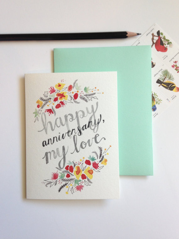 Happy anniversary my love anniversary card sable gray paper co happy anniversary my love anniversary card sable gray paper co custom stationery heirloom wedding papers and fine watercolors m4hsunfo