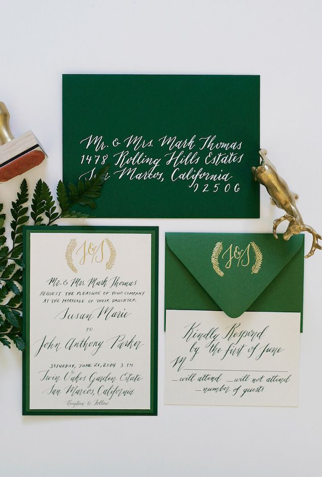 Emerald and Gold Wedding Invitation Suite Design by Ashlee Lurcott