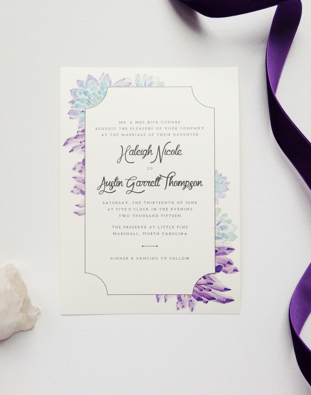 Watercolor amethyst and succulent wedding invitation by Sable and Gray Paper Co