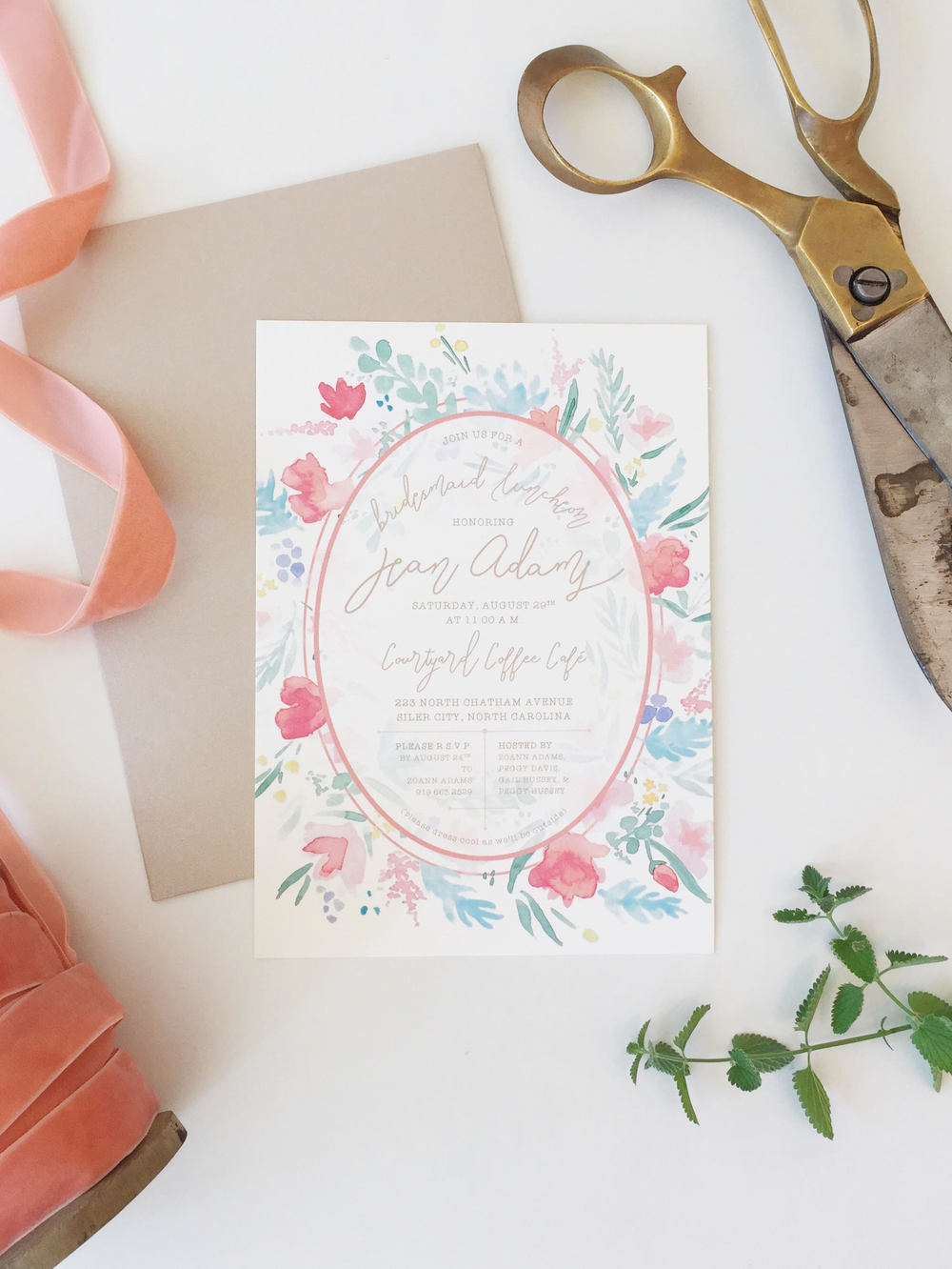 Sable and Gray | Watercolor Wreath Bridesmaid Luncheon Invitation