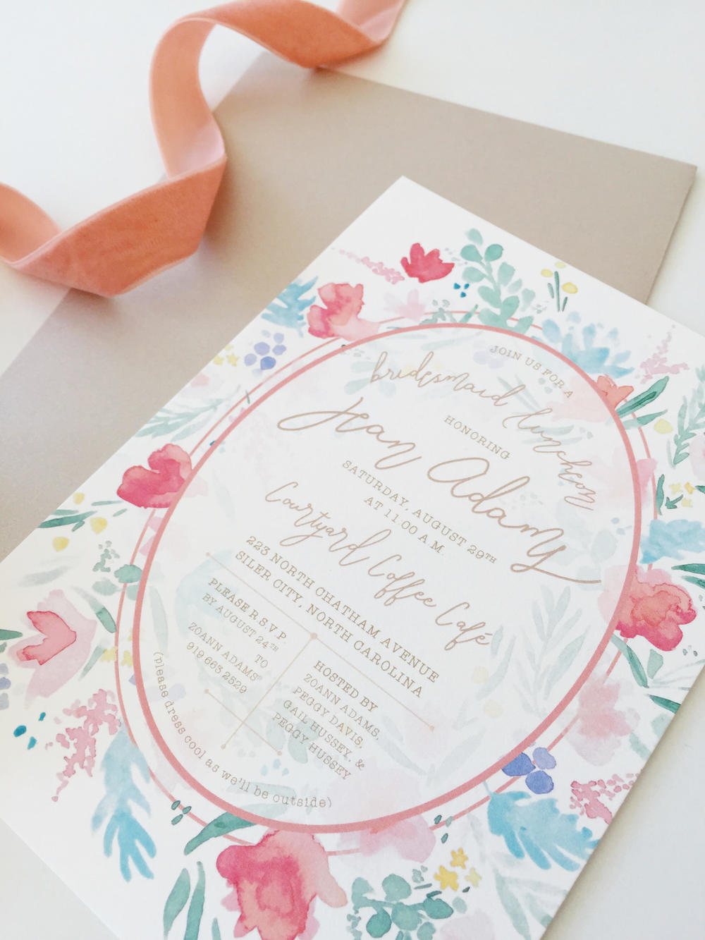 custom watercolor floral bridal shower invitation by Sable and Gray