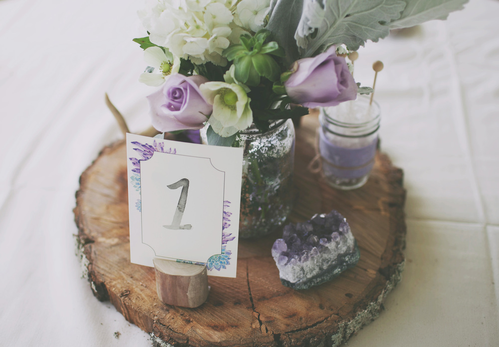 Watercolor amethyst and succulent wedding table numbers by Sable and Gray Paper Co