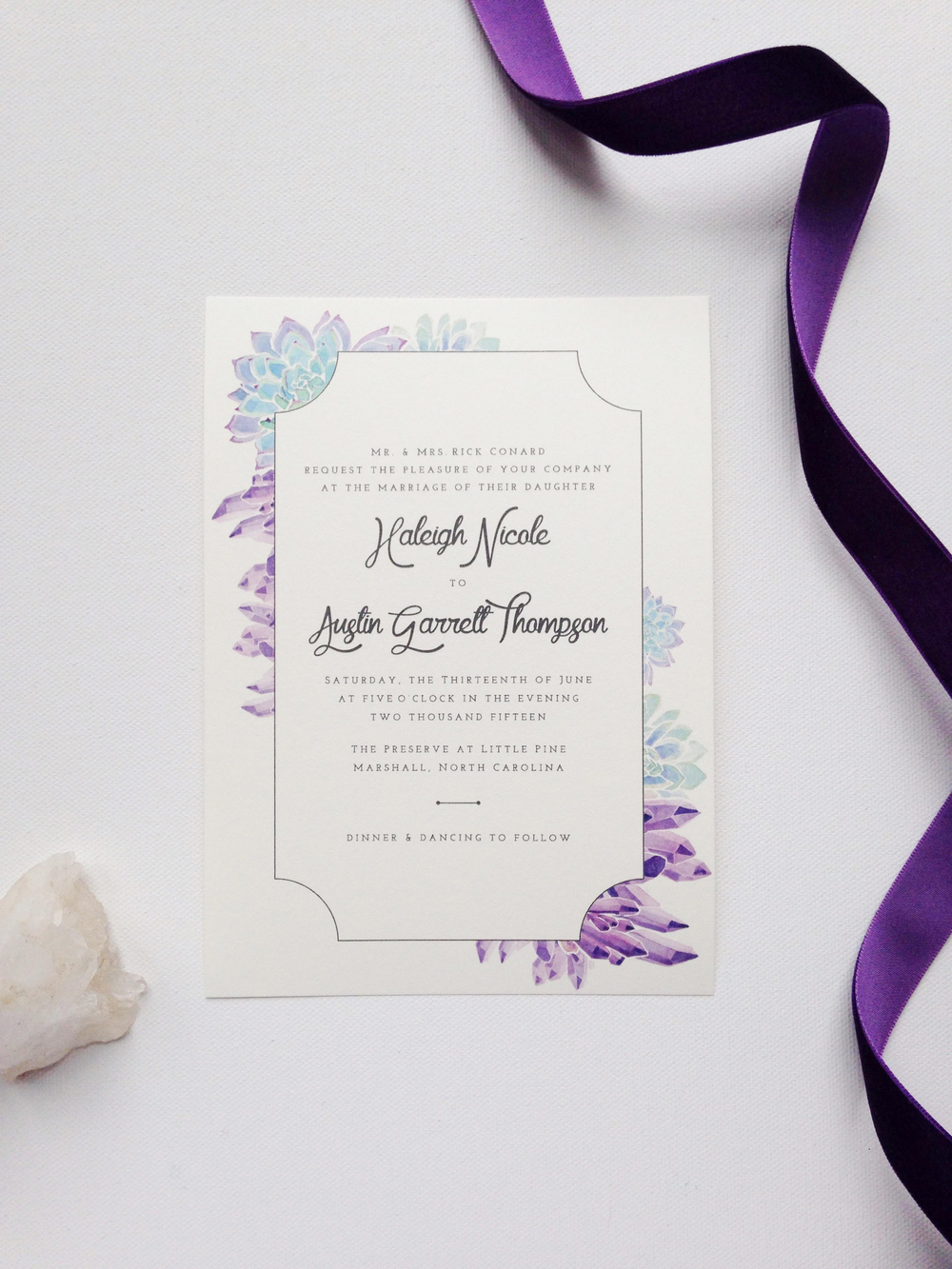 Sable and Gray - Custom Wedding Invitation