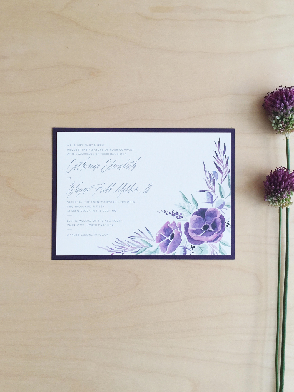 Sable and Gray Aubergine Wedding Invitation Suite