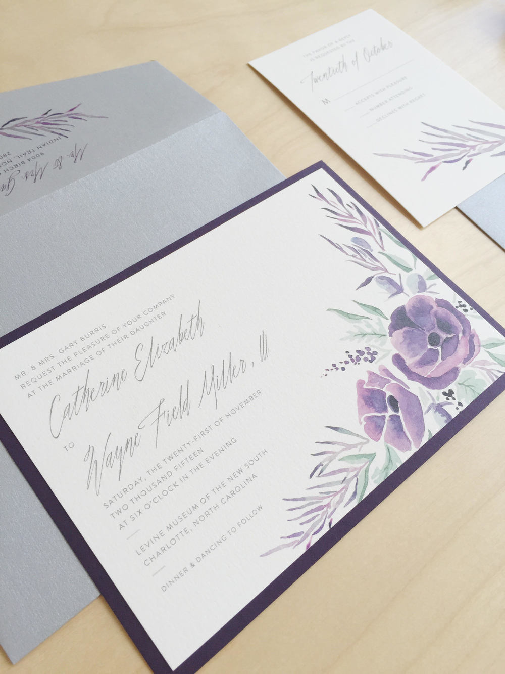 Sable and Gray - Aubergine Wedding Invitation Suite