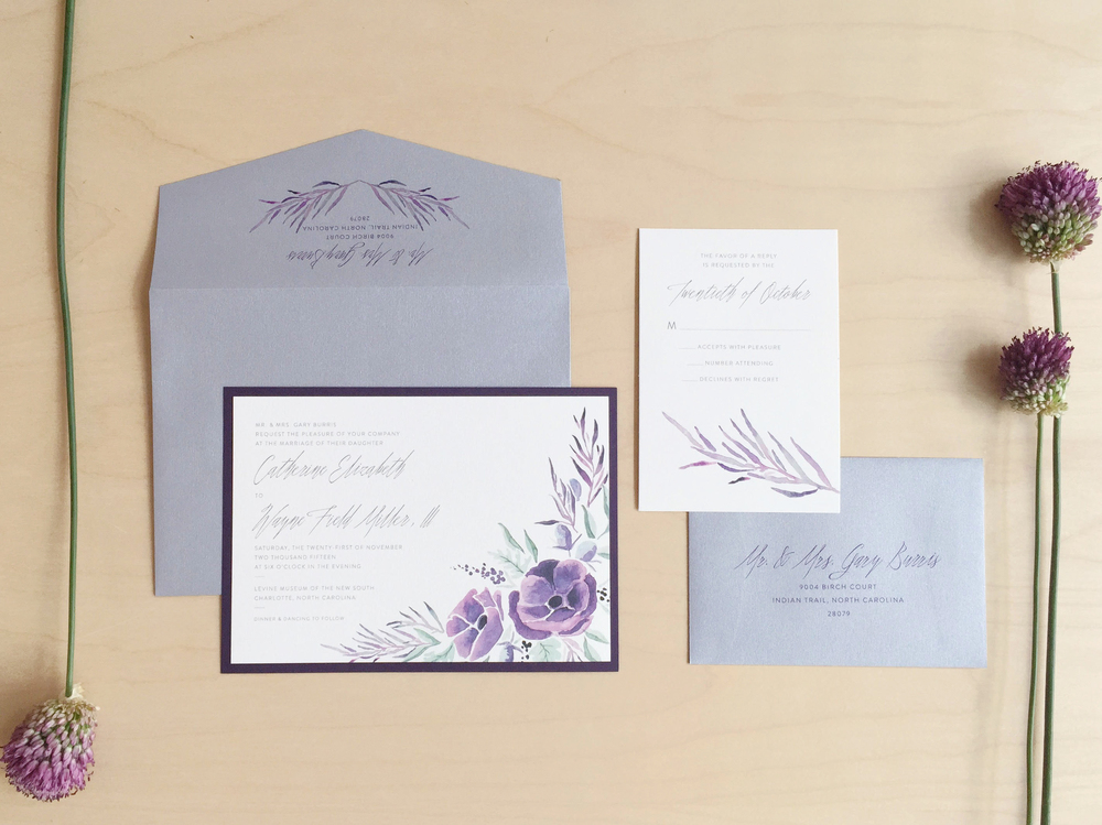 Sable and Gray - Aubergine Floral Wedding Invitation Suite