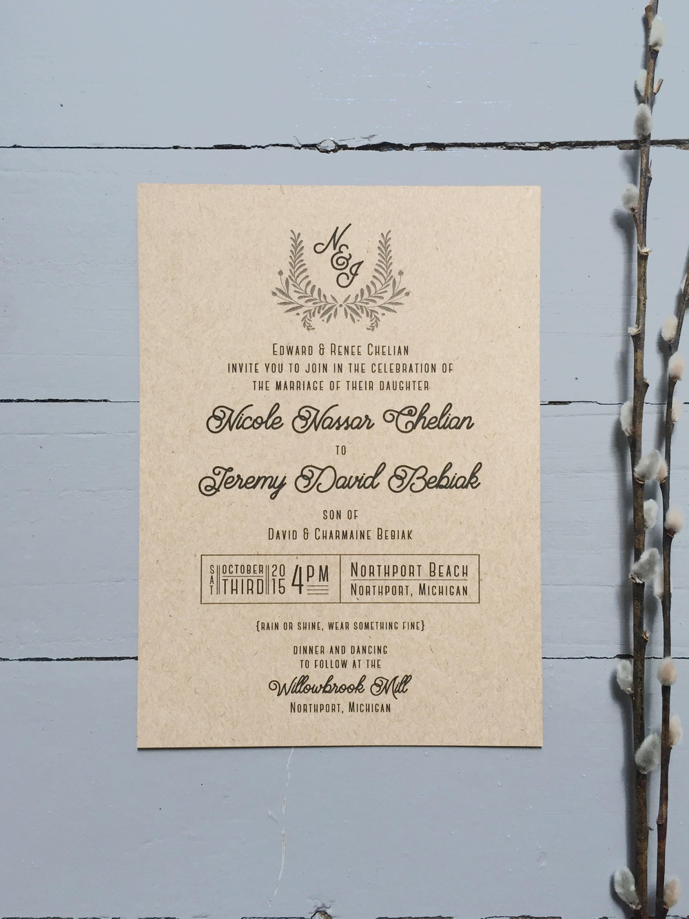 Sable and Gray - Rustic Neutral Wedding Invitation