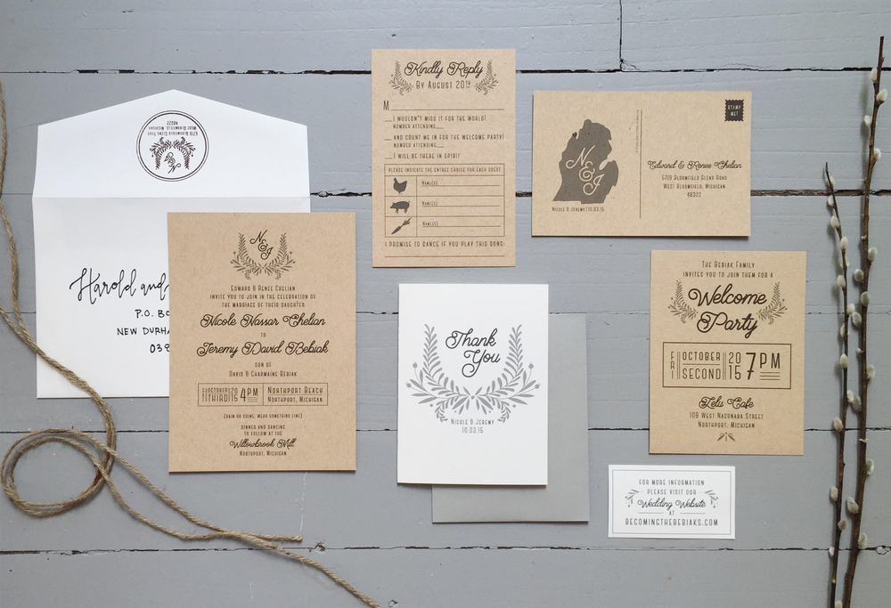 Sable and Gray - Rustic Neutral Wedding Invitation Suite