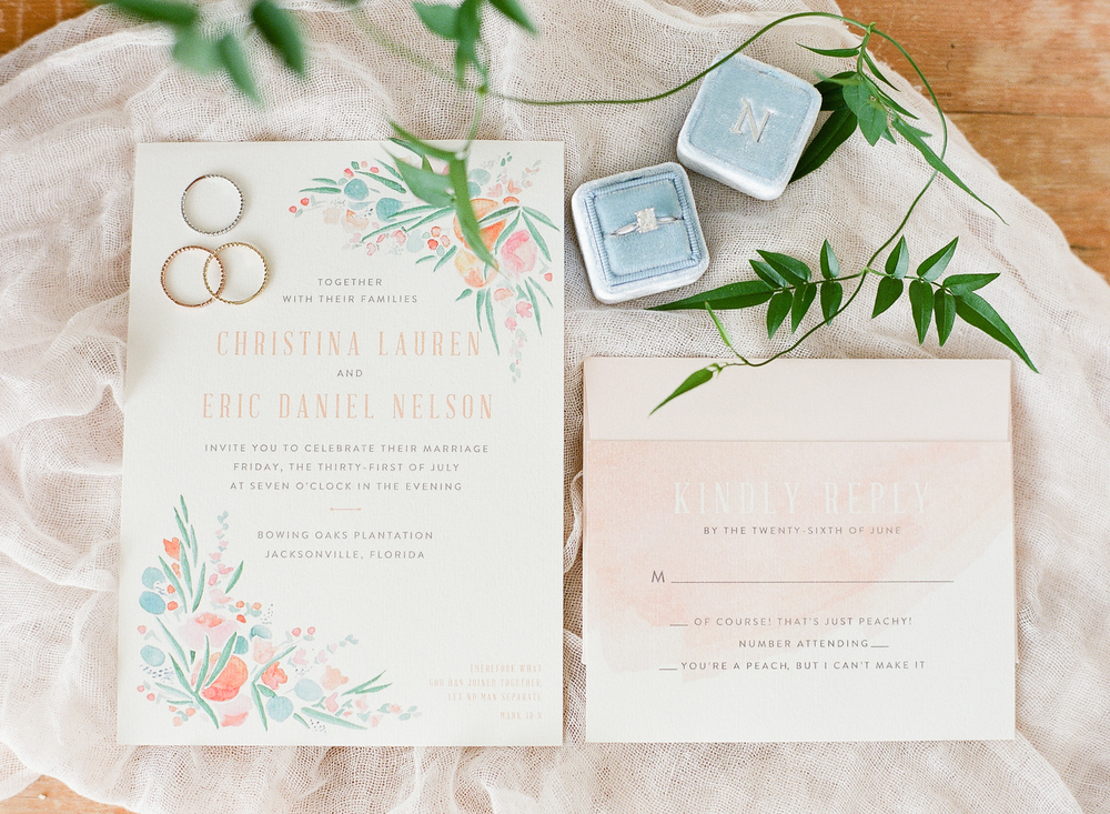 Sable and Gray | Peachy Perfection Wedding Invitation Suite