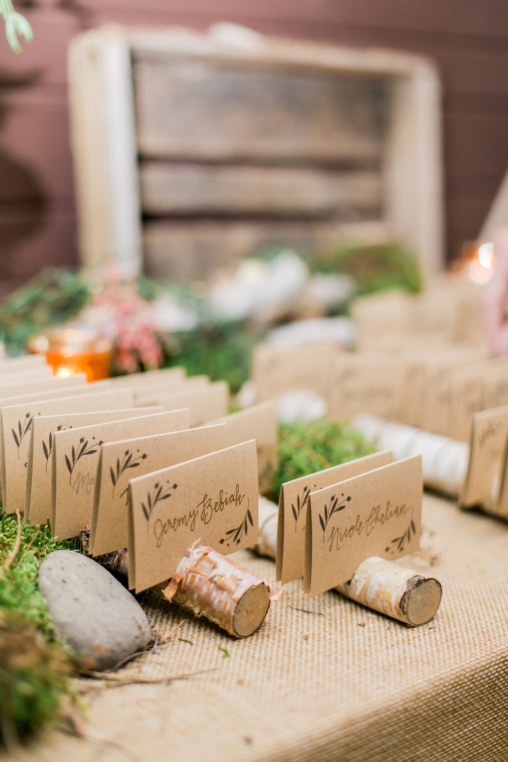 Sable and Gray Custom Escort Cards