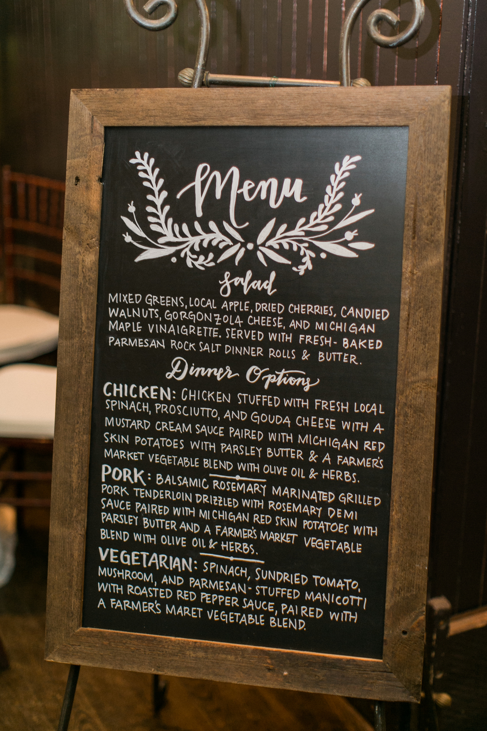 Sable and Gray Custom Hand-Lettered Chalkboard Sign