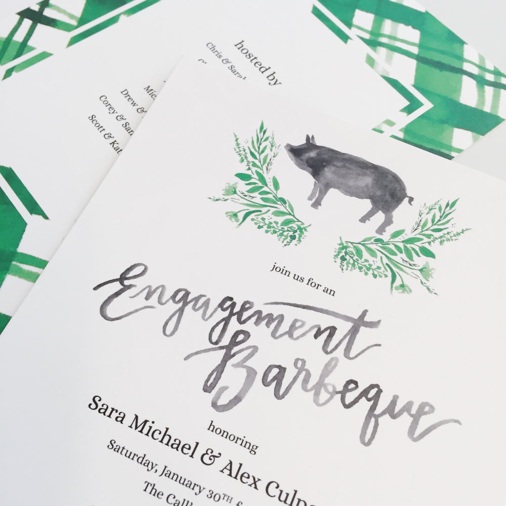 Sable and Gray custom engagement party invitation