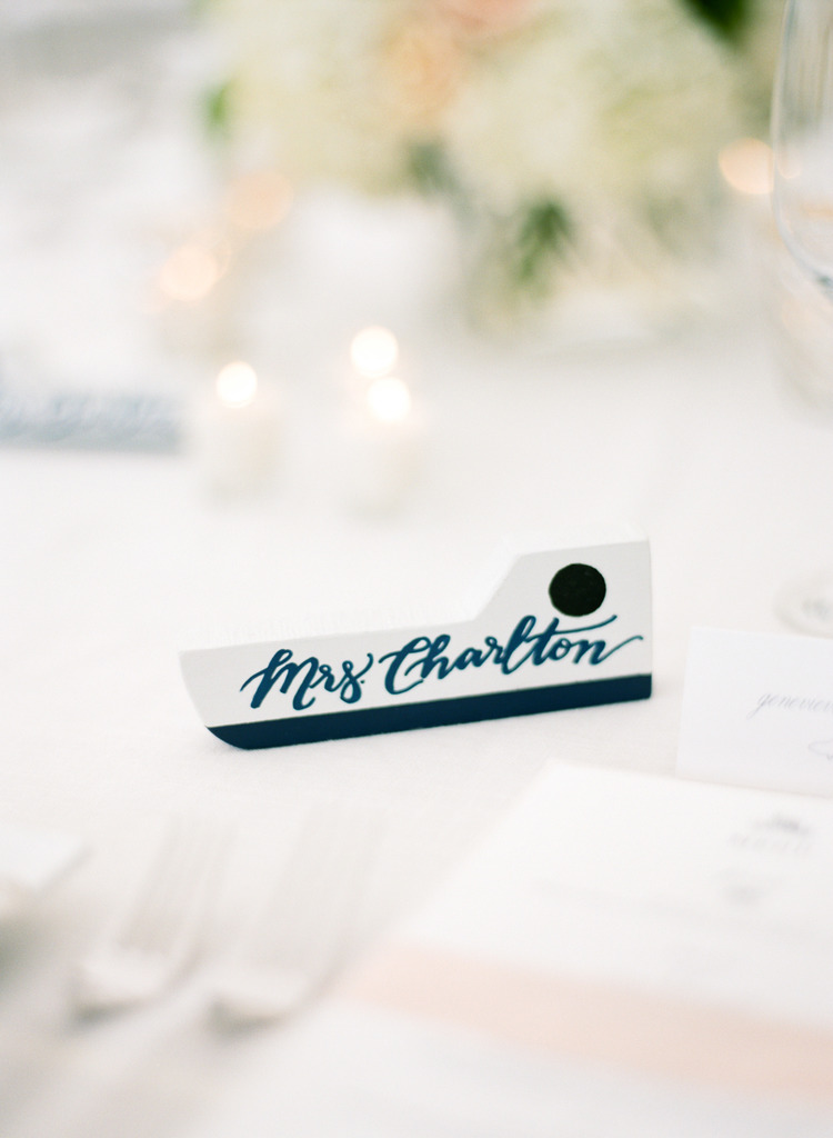 Sable and Gray Hand Lettered Place Cards