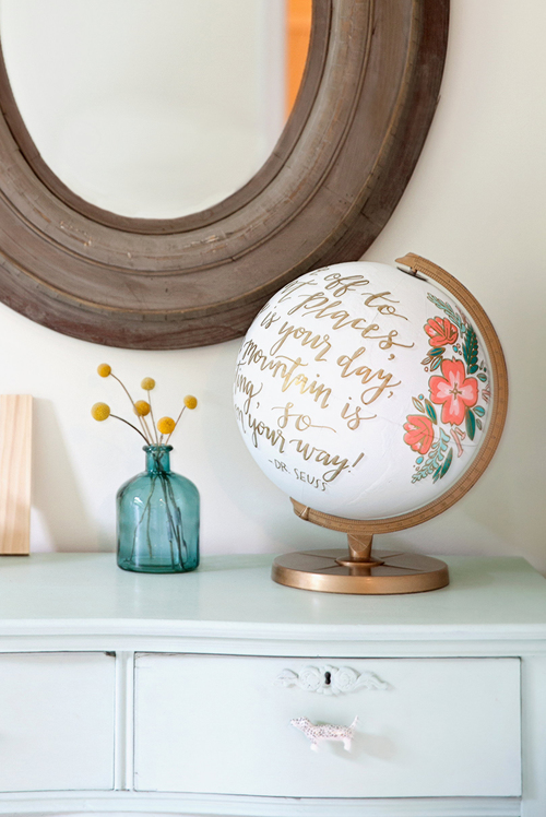 Sable and Gray Hand Painted Globe