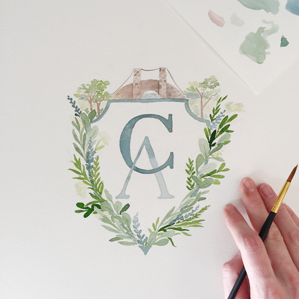 Custom Watercolor Crest by Sable and Gray