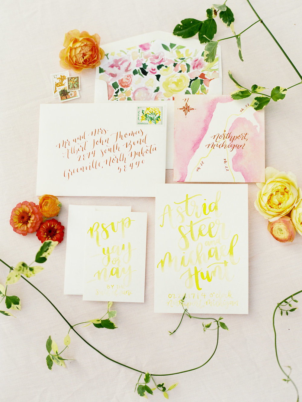 custom watercolor wedding invitations by sable & gray