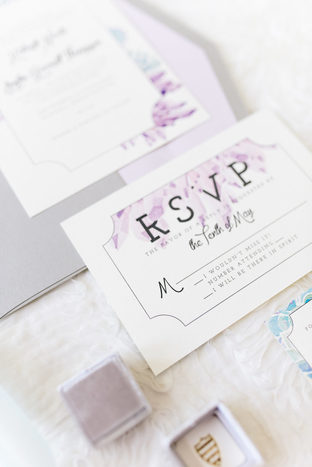 Amethyst Wedding Invitation Suite by Sable and Gray