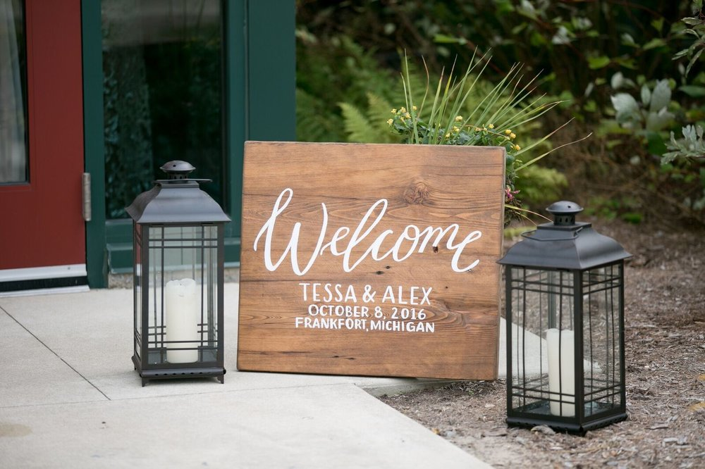 Custom wedding wooden welcome sign by Sable and Gray