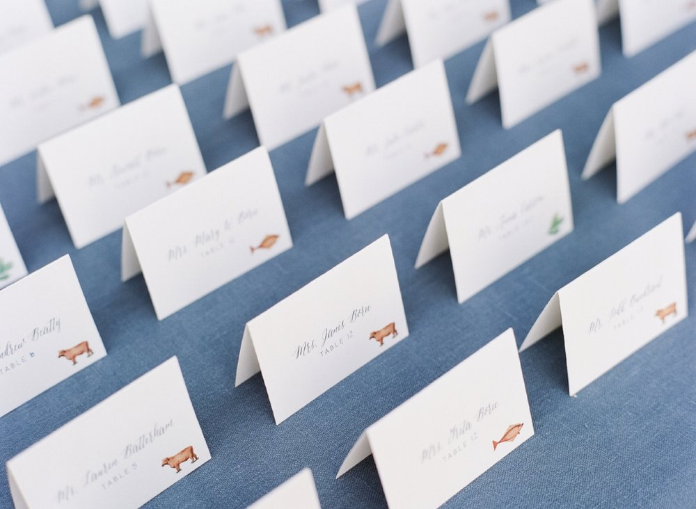 Custom Place Cards by Sable and Gray, custom entree illustrations