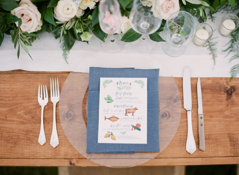 Custom Wedding Menu with entree illustrations by Sable and Gray