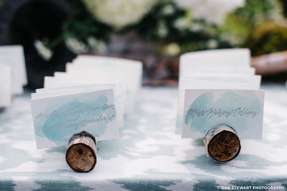 custom watercolor escort cards by sable and gray