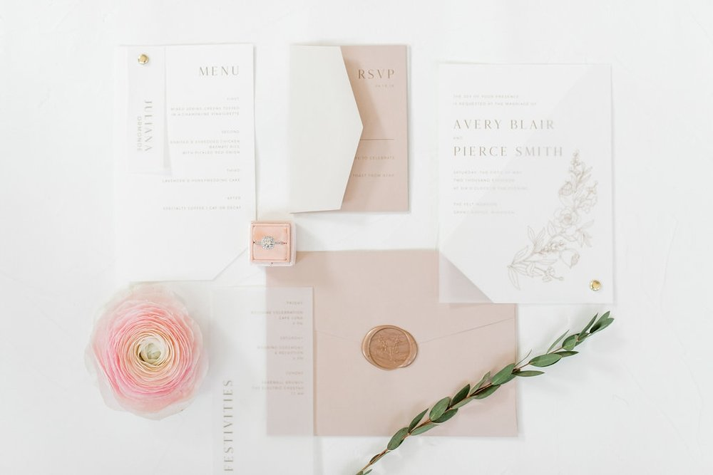 custom wedding invitation suite by sable & gray