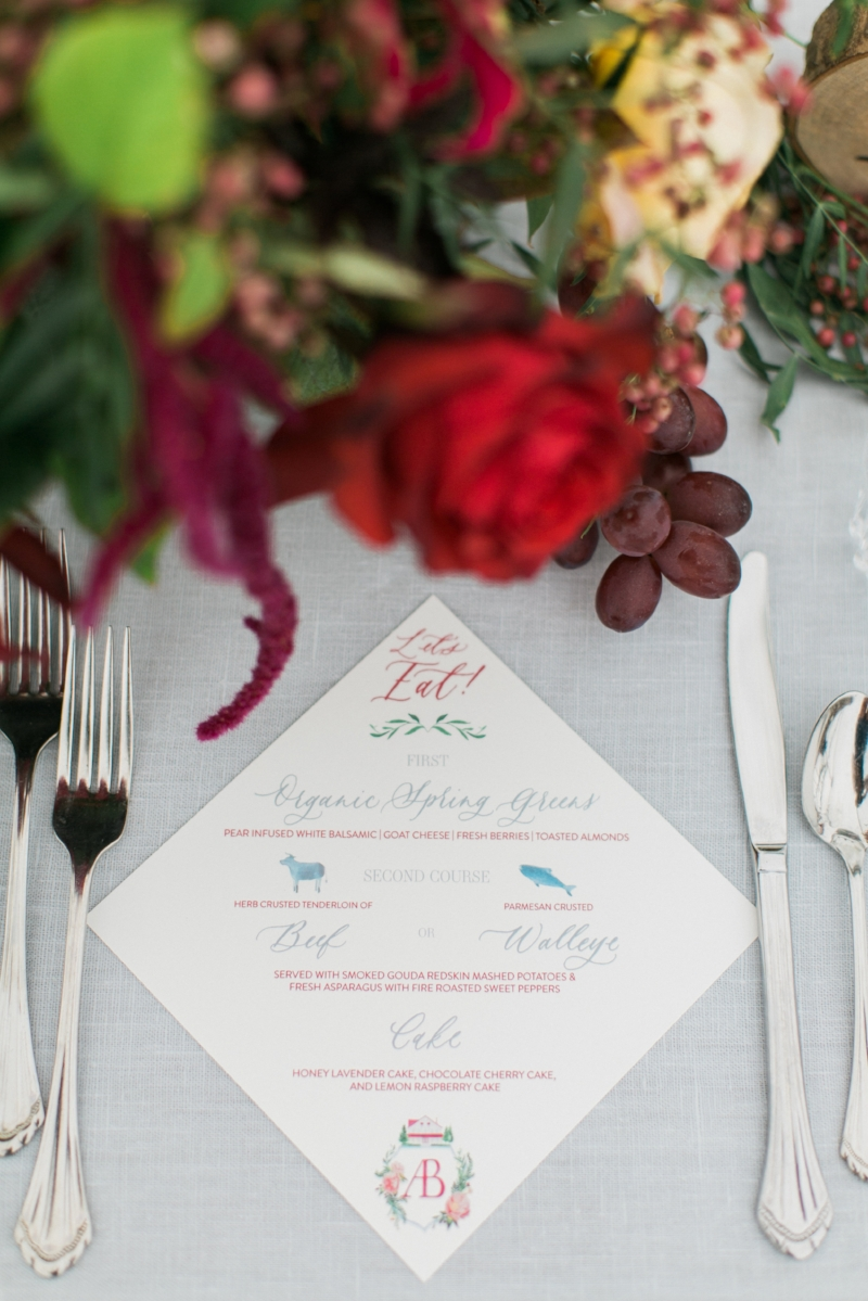 Custom Wedding Menu by Sable & Gray