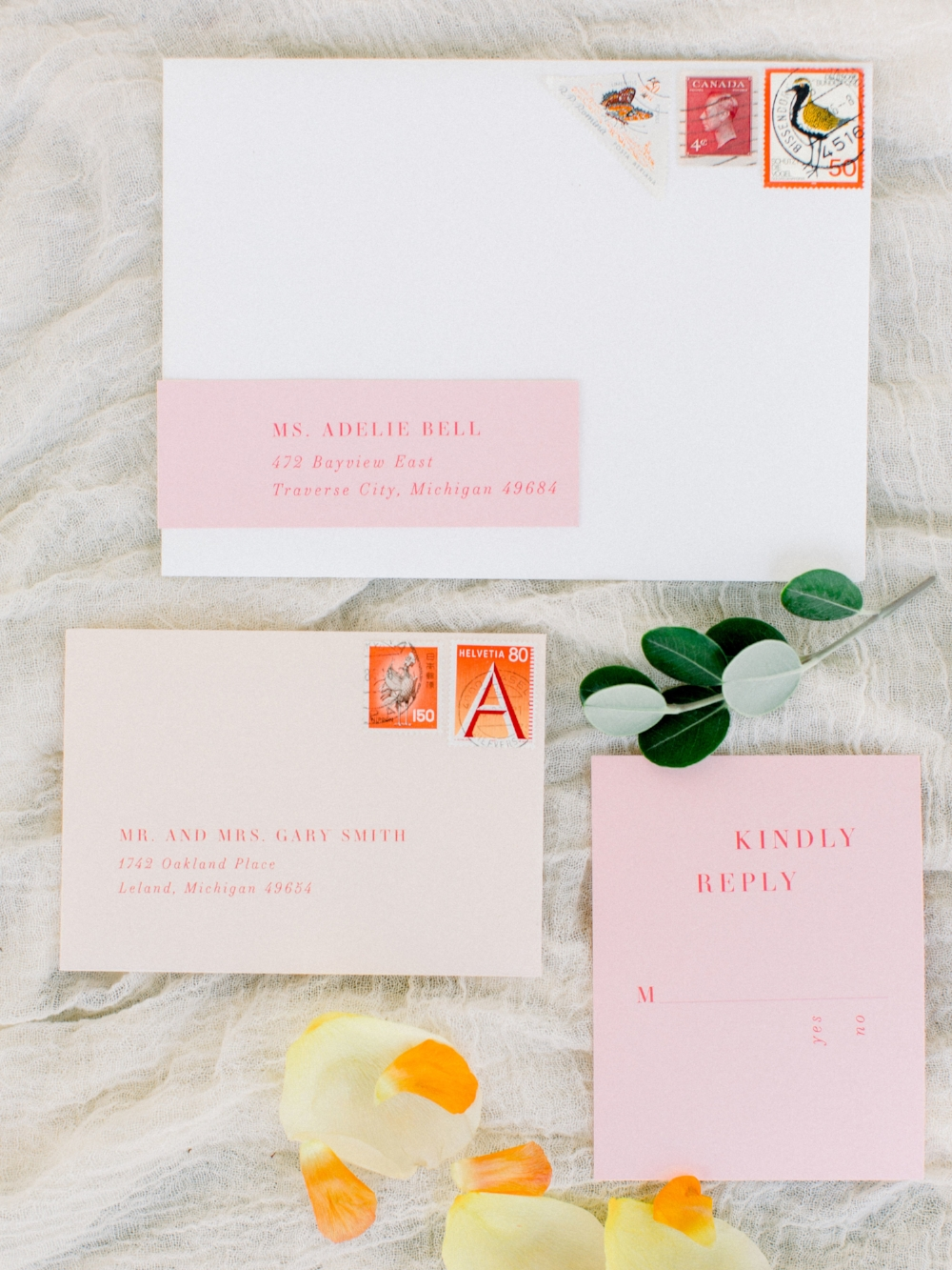 peach orange pink custom invitations by sable and gray