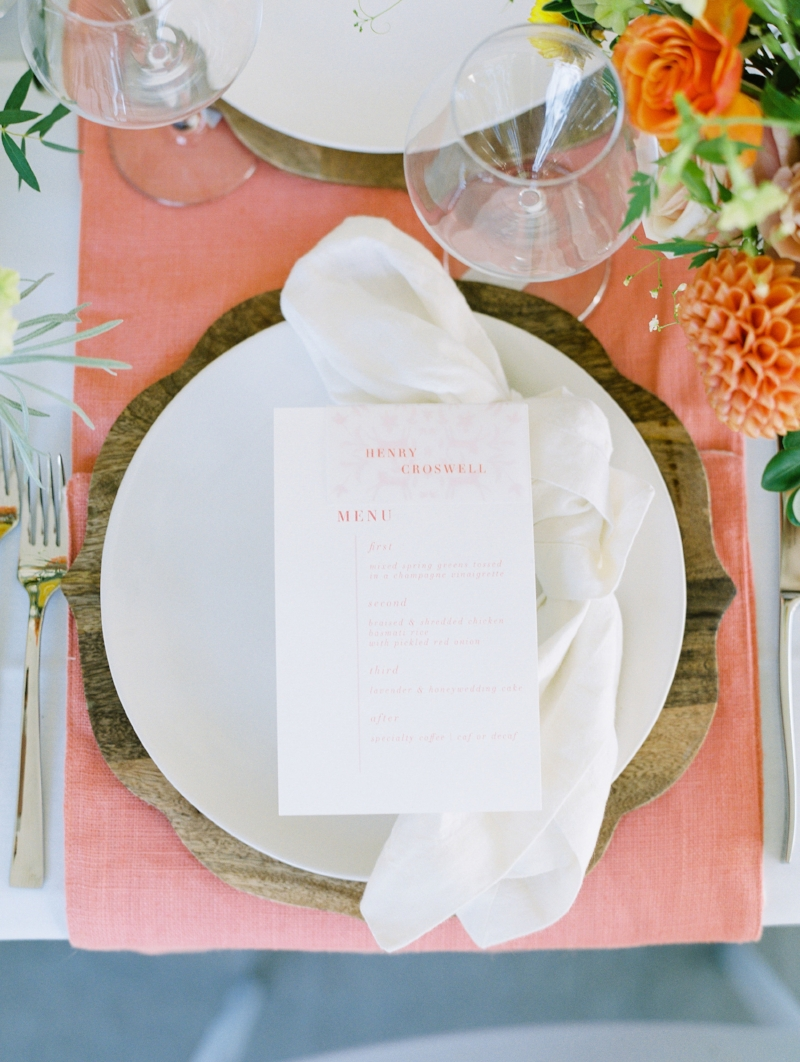 custom watercolor wedding menu by sable and gray