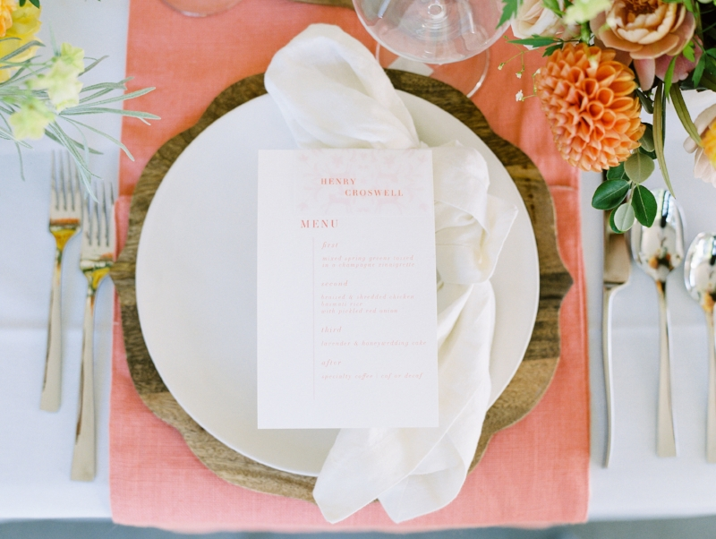 custom wedding menu by sable and gray