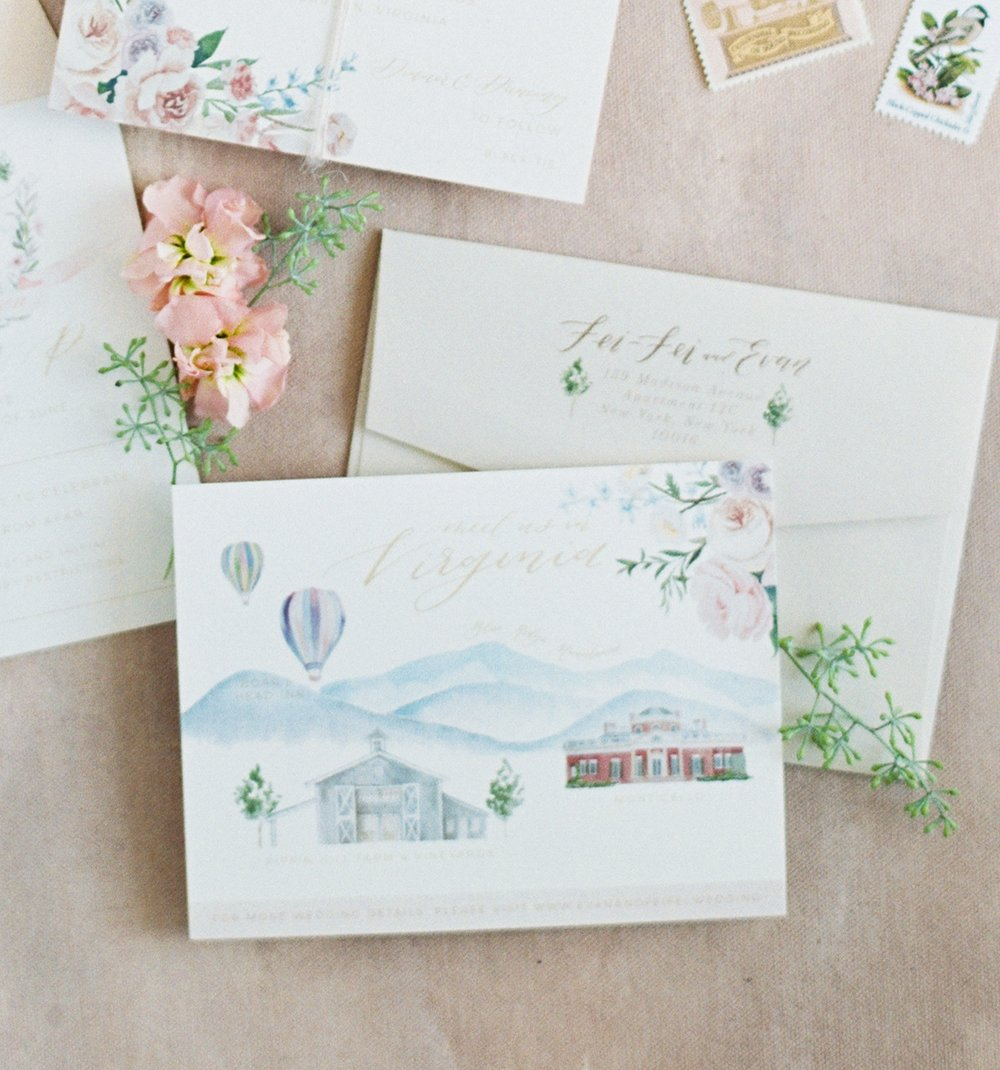 custom watercolor wedding map by sable and gray