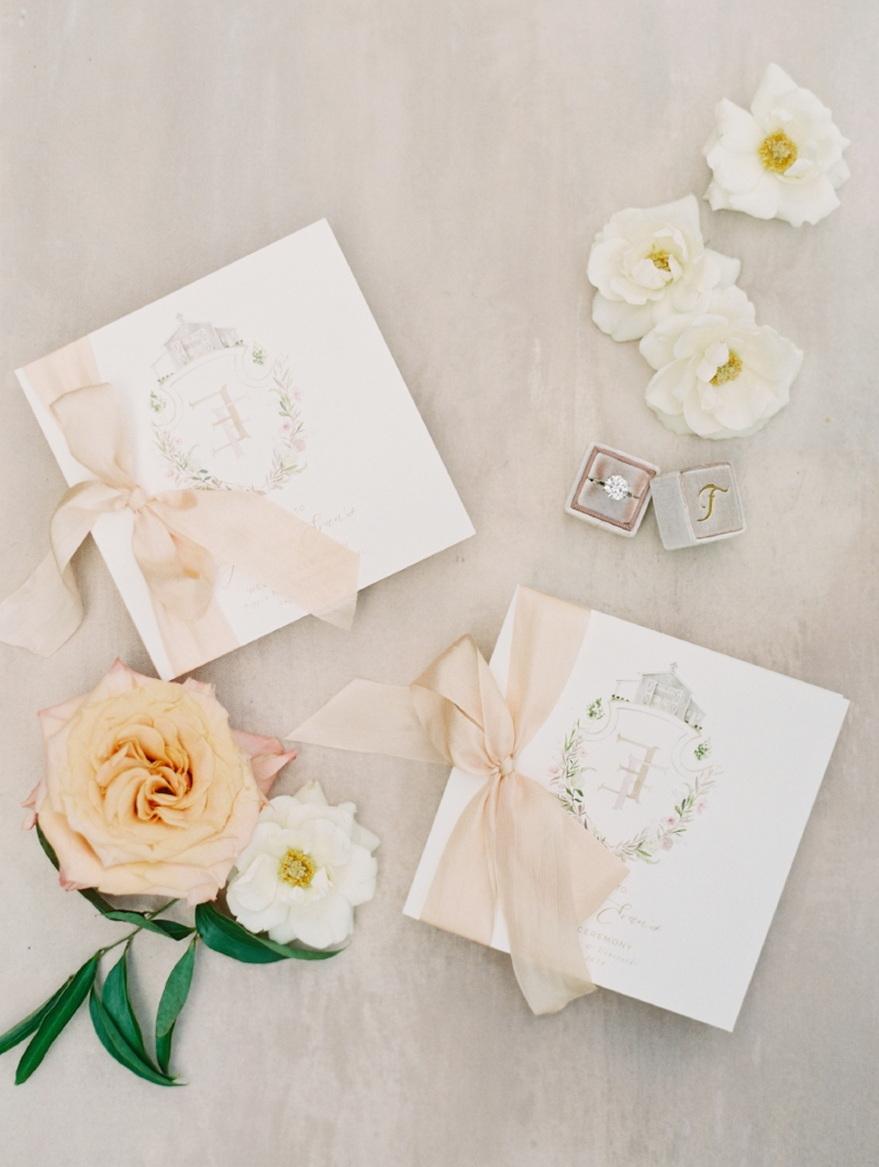 custom watercolor silk ribbon wedding programs by sable and gray