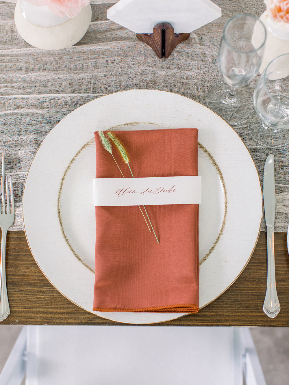 custom calligraphy place card by sable and gray