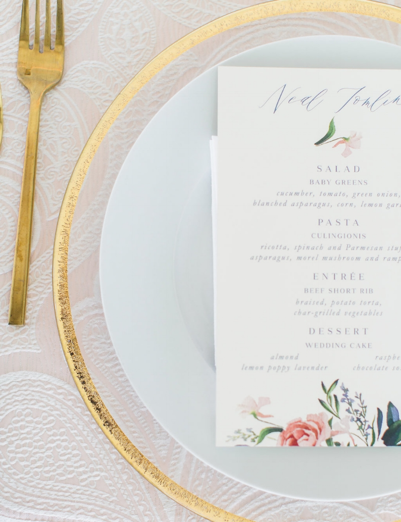 custom watercolor floral menu by sable and gray